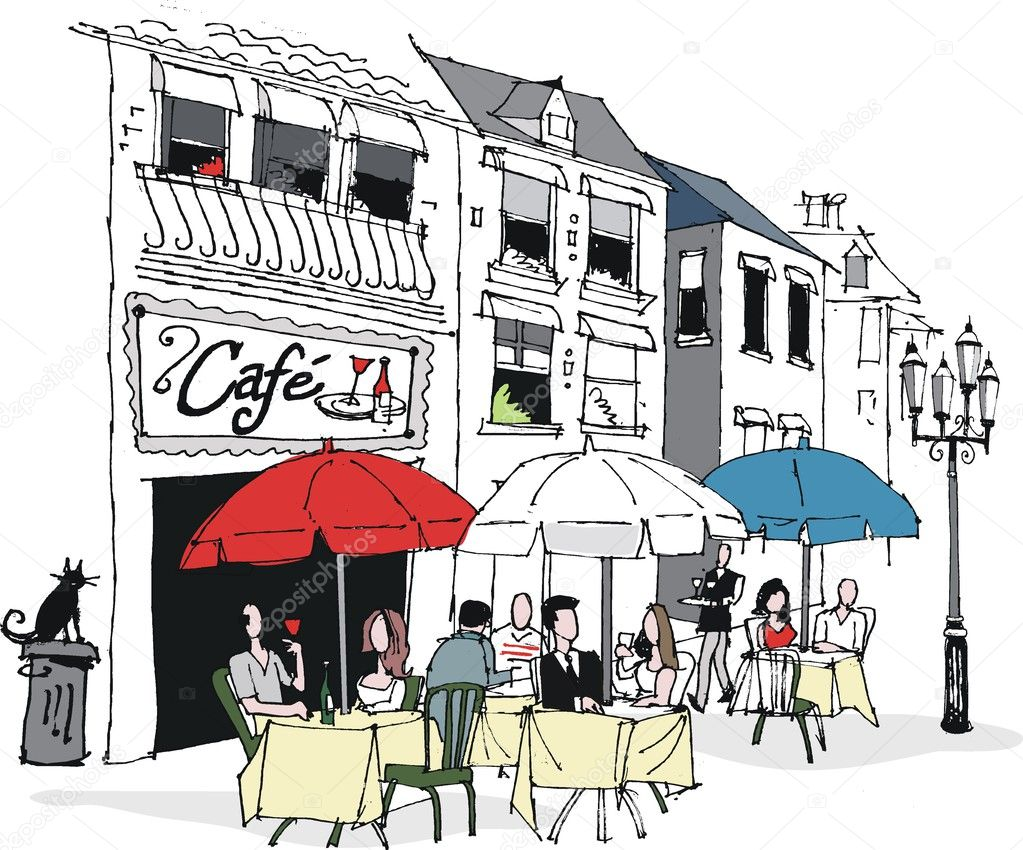 French Cafe Drawing of Dining at French Cafe