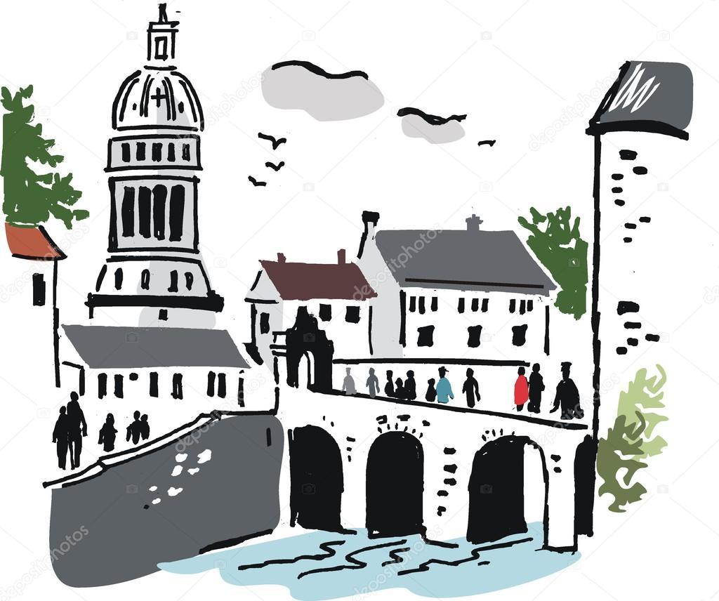 欧洲街道透视手绘图