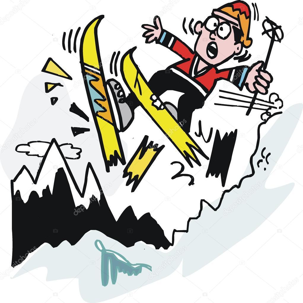 矢量卡通的滑雪运动员打破滑雪板上的山