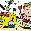 Vector cartoon of small boy making sand castle at beach. — Imagen vectorial
