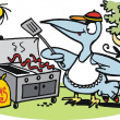 Vector cartoon of fierce bird preparing worm meal on barbecue — Stockvectorbeeld