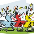 Vector cartoon of three happy birds singing — Stockvektor