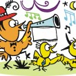 Vector cartoon of happy birds celebrating with music - Stock Vector