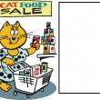 Vector cartoon of cat selecting food at supermarket — Stock Vector
