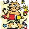 Cartoon cat surfing at beach — Stock Vector