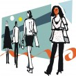 Vector illustration of woman shoppers against abstract background — Stock Vector