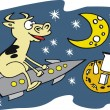 Vector cartoon of cow riding on rocket to moon — Vettoriali Stock