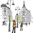 Vector illustration of in Stockholm city street. — Stock Vector