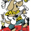 Vector cartoon of dog playing rock music on guitar — Stockvektor
