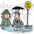 Vector cartoon of man and woman at flooded bus stop — Stock Vector