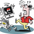 Vector cartoon of angry man kicking computer - Image vectorielle