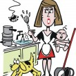 Vector cartoon of overworked housewife in kitchen — Stok Vektör