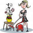 Vector cartoon of woman using vacuum cleaner — Stock Vector