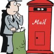 Vector cartoon of postman looking at mailbox — Stock Vector