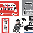 Vector cartoon illustration of London bus, taxi and building symbols — Stock Vector