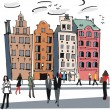 Vector illustration of old buildings, Stockholm, Sweden - 图库矢量图片