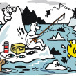 Vector cartoon of polar bears on icebergs. — Vettoriale Stock