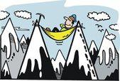 Vector cartoon of mountaineer relaxing on alpine peak — Stock Vector