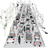 Stylized vector illustration of traffic congestion on highway — Stock Vector