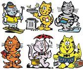 Selección de dibujos animados de gatos sonrientes — Vector de stock