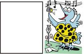 Dibujos animados de vector de cantar del pájaro feliz. — Vector de stock