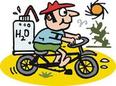 Vector cartoon of man riding bicycle on hot day — Stock Vector