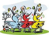 Vector cartoon of three happy birds singing — Stock Vector