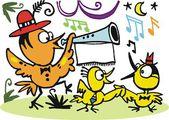 Vector cartoon of happy birds celebrating with music — Stock Vector