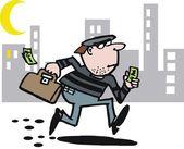 Vector cartoon of running burglar — Stock Vector
