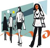 Vector illustration of woman shoppers against abstract background — Stok Vektör