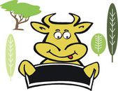 Vector cartoon of happy cow face — Stock Vector