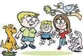 Vektör karikatür mutlu aile parkı — Stok Vektör