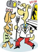 Vector cartoon of singing and dancing dogs — Stock vektor