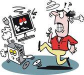 Vector cartoon of angry man kicking computer — Stock Vector