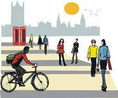Vector illustration of cyclist and pedestrians, London England — Stock Vector