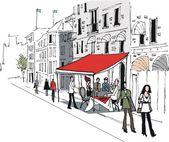 Vector illustration of cafe street scene in Stockholm, Sweden — Stock Vector