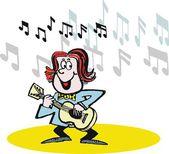 Kreskówka wektor zadowolony muzyk gra na gitarze — Wektor stockowy