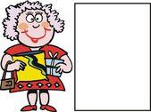 Vector carton of happy woman with parcel — Stock Vector