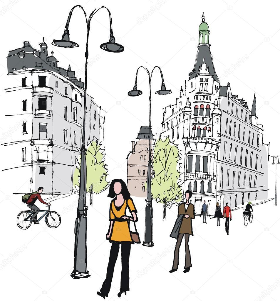Нарисовать человека в городе