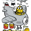Vector cartoon of bee in plane with honey bucket — Stock Vector