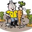 Happy gardener with carrot vector cartoon — Stock Vector #26291069