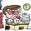 Overworked office executive drinking cups of coffee cartoon — Imagen vectorial