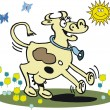 Vector cartoon of happy dancing cow — Imagen vectorial