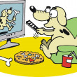Stock Vector: Vector cartoon of happy dog watching television
