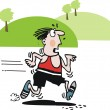 Exhausted jogger vector cartoon — Imagen vectorial