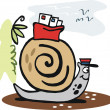 Snail carrying mail vector cartoon — Stock Vector