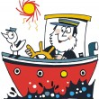 Vector cartoon of happy sailor in boat — Stock Vector