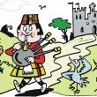 Vector cartoon of Scotsman blowing bagpipes beside lake and castle. — Stock Vector