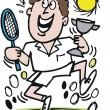 Man celebrating tennis match victory cartoon — Imagens vectoriais em stock