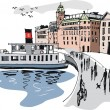 Vector illustration showing ferry and buildings, Stockholm harbor, Sweden. - Stock Vector